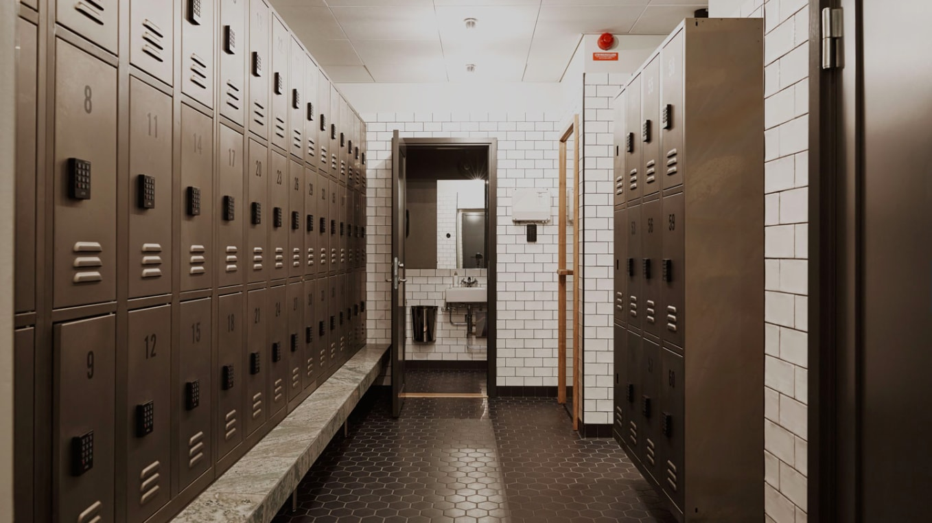 Industrial and vintage metal lockers for changing room